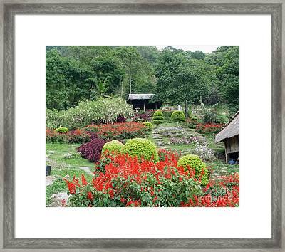 Burma Village Garden Framed Print by John Johnson