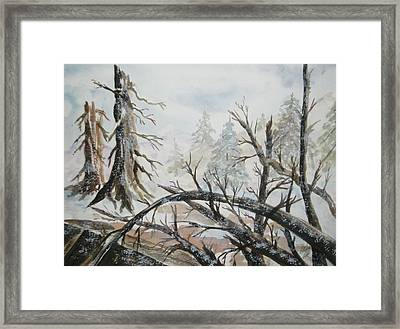 Framed Print featuring the painting Burned Forest In The Snow by Ellen Levinson