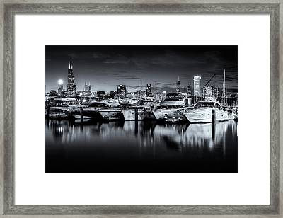 Burnham Harbor Black And White Framed Print