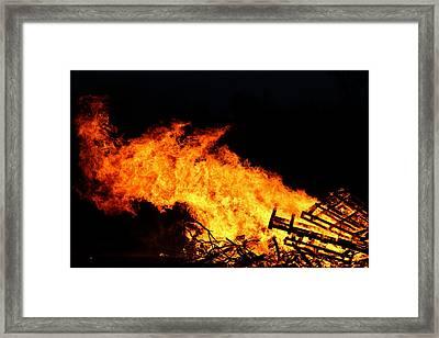 Burning Framed Print by Denise Irving