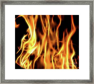 Burning Flames Fractal Framed Print