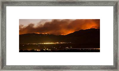 Burning Foothills Above Boulder Fourmile Wildfire Panorama Framed Print