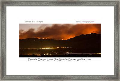 Burning Foothills Above Boulder Fourmile Wildfire Panorama Poster Framed Print