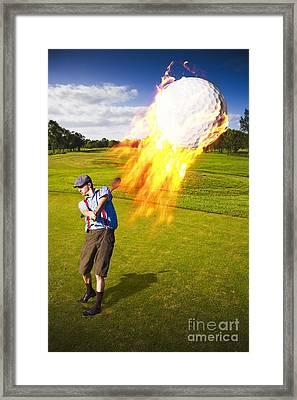 Burning Golf Ball Framed Print