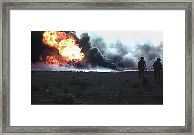 Burning Kuwaiti Oil Field Framed Print