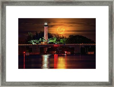 Burning Moon Rising Over Jupiter Lighthouse Framed Print