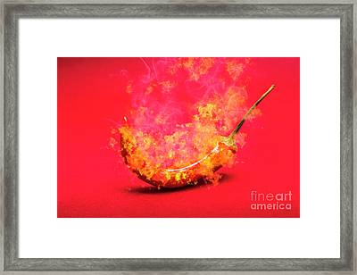 Burning Red Hot Chili Pepper. Mexican Food Framed Print