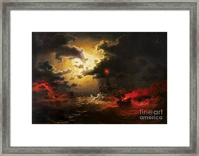 Burning Ship On Night Sea Framed Print by Celestial Images