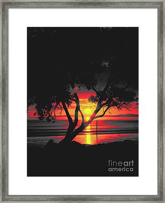 Burning Sunrise Framed Print by Karen Lewis