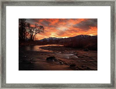 Framed Print featuring the photograph Burning Sunset Above The Provo River. by Johnny Adolphson
