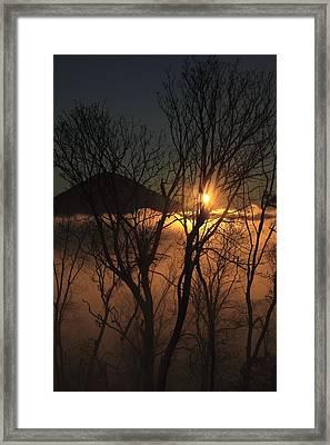 Burning Through The Fog Framed Print by Naman Imagery