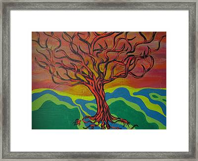 Burning Tree Framed Print by Rebecca Jankowitz