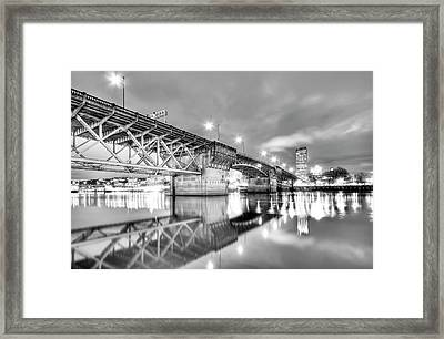 Burnside Bridge Portland Oregon At Night Framed Print