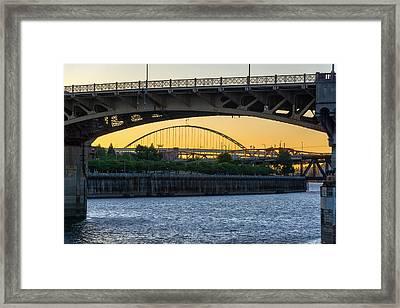 Burnside Bridge Sunset Framed Print