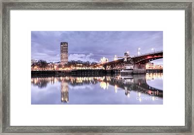 Burnside Bridge Waterfront Portland Oregon Framed Print