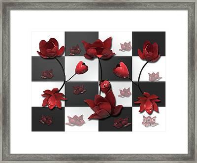 Burnt Crimson Flora Framed Print