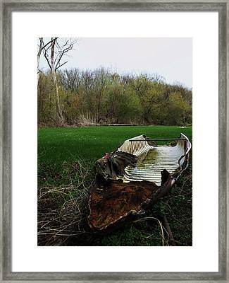 Burnt Out Boat Framed Print by Anna Villarreal Garbis