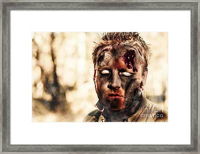 Burnt Zombie Standing In Smouldering Horror Forest Framed Print