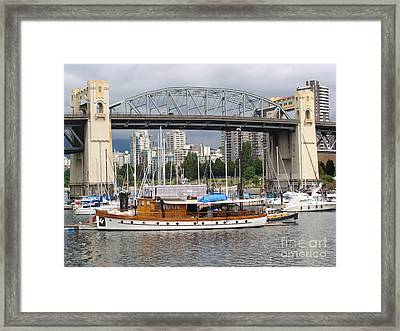 Framed Print featuring the painting Burrard Street Bridge, Vancouver by Rod Jellison