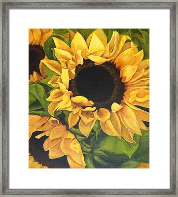 Framed Print featuring the painting Burst Of Sunflowers by Sandra Nardone