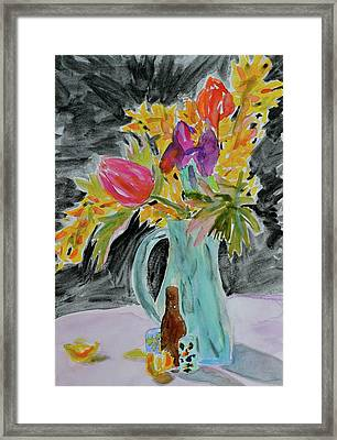 Framed Print featuring the painting Bursting Bouquet by Beverley Harper Tinsley