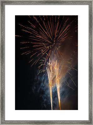 Bursting Colorful Fireworks Framed Print by Garry Gay