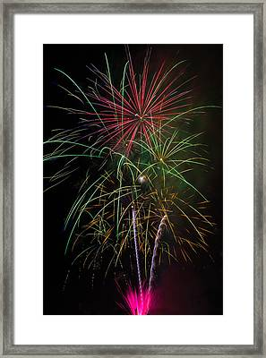 Bursting Fireworks Framed Print by Garry Gay