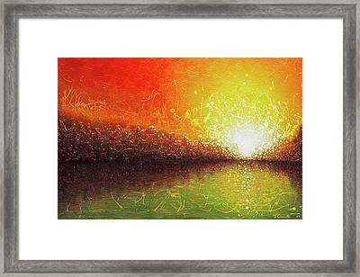 Framed Print featuring the painting Bursting Sun by Jaison Cianelli