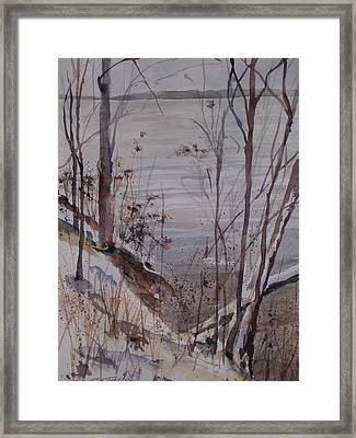Framed Print featuring the painting Burt Lake In Winter by Sandra Strohschein
