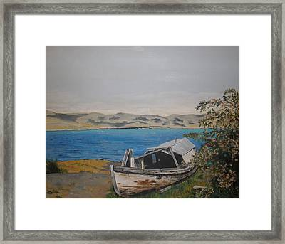 Framed Print featuring the painting Burwash Landing Yukon by Betty-Anne McDonald