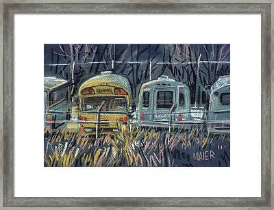 Bus Parking Framed Print by Donald Maier