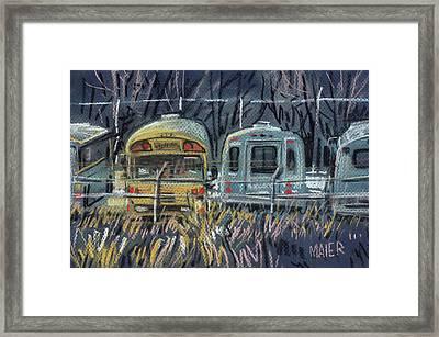 Bus Parking Framed Print