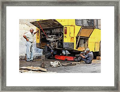 Bus Repairs Framed Print by Dawn Currie