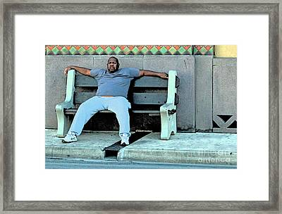 Bus Stop Snooze Framed Print by Joe Jake Pratt