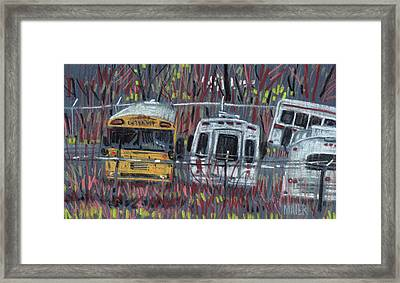 Bus Yard Framed Print by Donald Maier