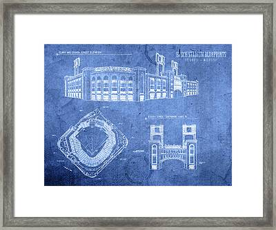 Busch Stadium St Louis Cardinals Baseball Field Blueprints Framed Print