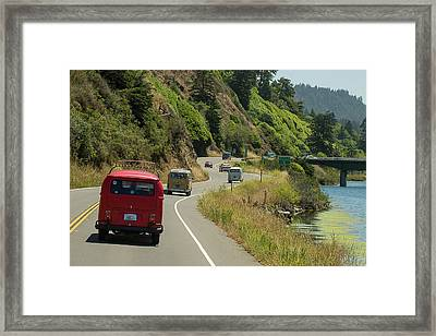 Buses Heading For A Bridge Framed Print by Richard Kimbrough