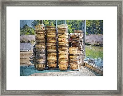 Bushel Baskets - Watercolor Fx Framed Print