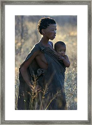 Bushmen Mother And Child Framed Print by Miranda  Miranda