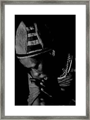 Bushmen Praying Woman Framed Print by Miranda  Miranda