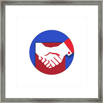 Business Deal Handshake Circle Retro Framed Print