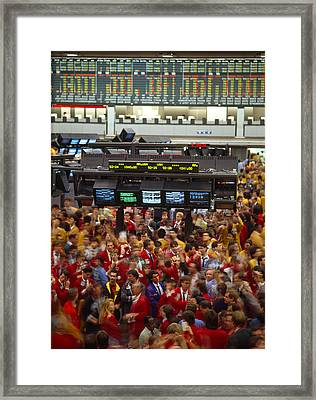 Business Executives On Trading Floor Framed Print