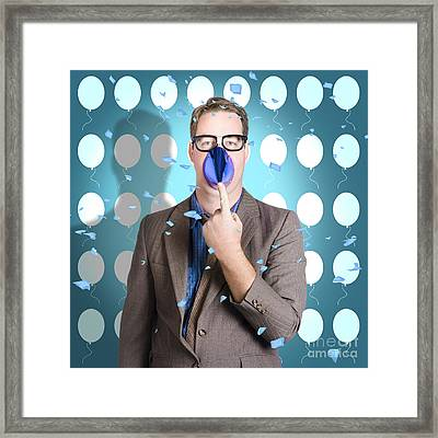 Business Joker Playing Around At Work Function Framed Print
