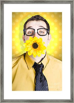 Business Man Celebrating Summer With Sun Flower Framed Print by Jorgo Photography - Wall Art Gallery