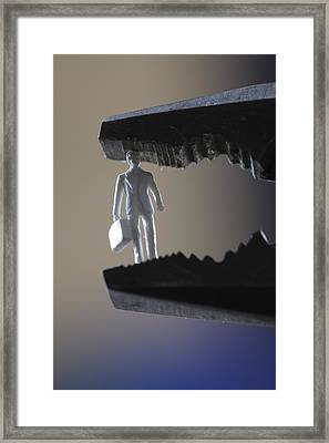 Business Man Clamped In Pliers Framed Print