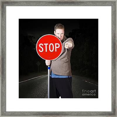 Business Man Holding Road Stop Sign Framed Print by Jorgo Photography - Wall Art Gallery