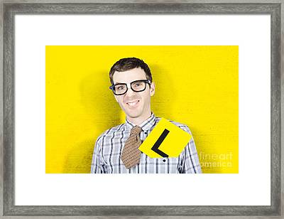 Business Man Starting First Day With L Plates Framed Print by Jorgo Photography - Wall Art Gallery