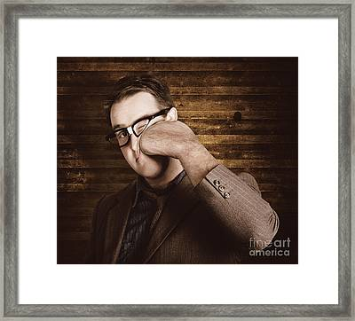 Business Man Under Stress Punching A System Reboot Framed Print by Jorgo Photography - Wall Art Gallery