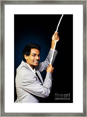 Business Person Climbing The Coporate Rung Framed Print