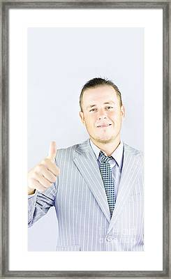 Business Person Pointing Up To Copyspace Framed Print by Jorgo Photography - Wall Art Gallery